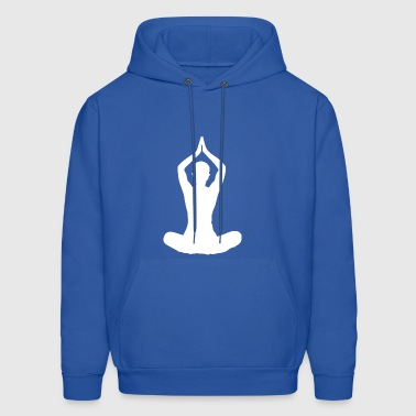 yoga sitting women wife lotus seat arms up white - Men's Hoodie