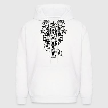 tattoo rose cross and nautical star - Men's Hoodie