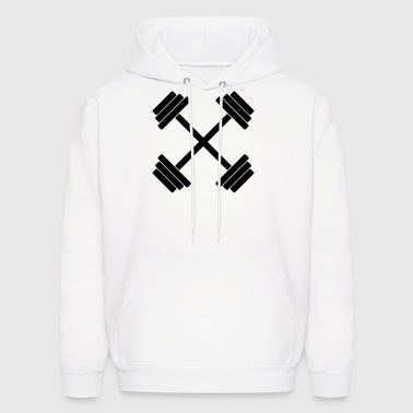 Gym Crossed Dumbbell Barbell Weight Athletics 1c - Men's Hoodie