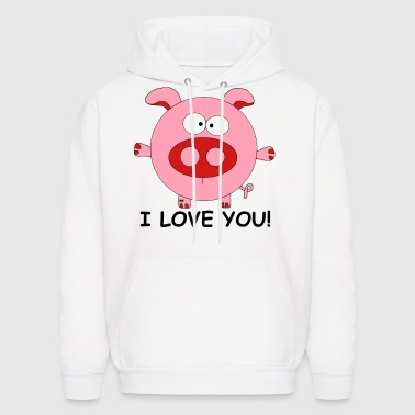Pig I love you Lover Cupid couple Valentine Kiss - Men's Hoodie