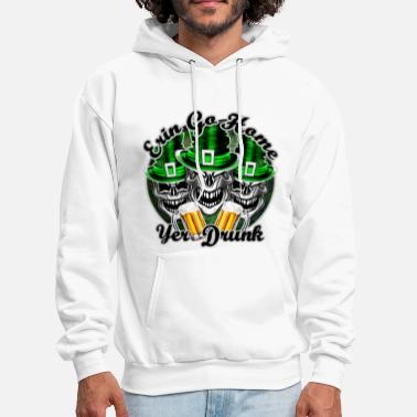 St Patricks Day Funny Irish Skulls:Erin Go Home, Yer Drunk - Men's Hoodie