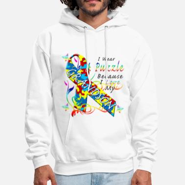 Autism Autism Awareness Puzzle For My Grandson - Men's Hoodie