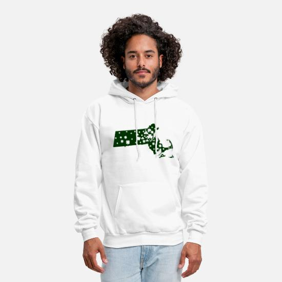 Classic Boston Shirts Hoodies & Sweatshirts - Massachusetts Mass Irish Shamrock - Men's Hoodie white