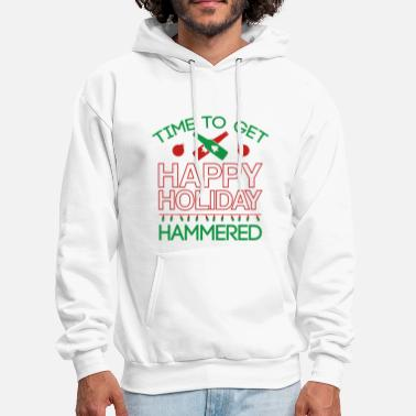 Funny Christmas Time To Get Happy Holiday Hammered - Men's Hoodie