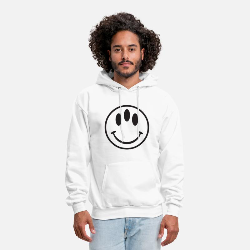 Cool Hoodies & Sweatshirts - 3 Eyed Smiley Face - Men's Hoodie white
