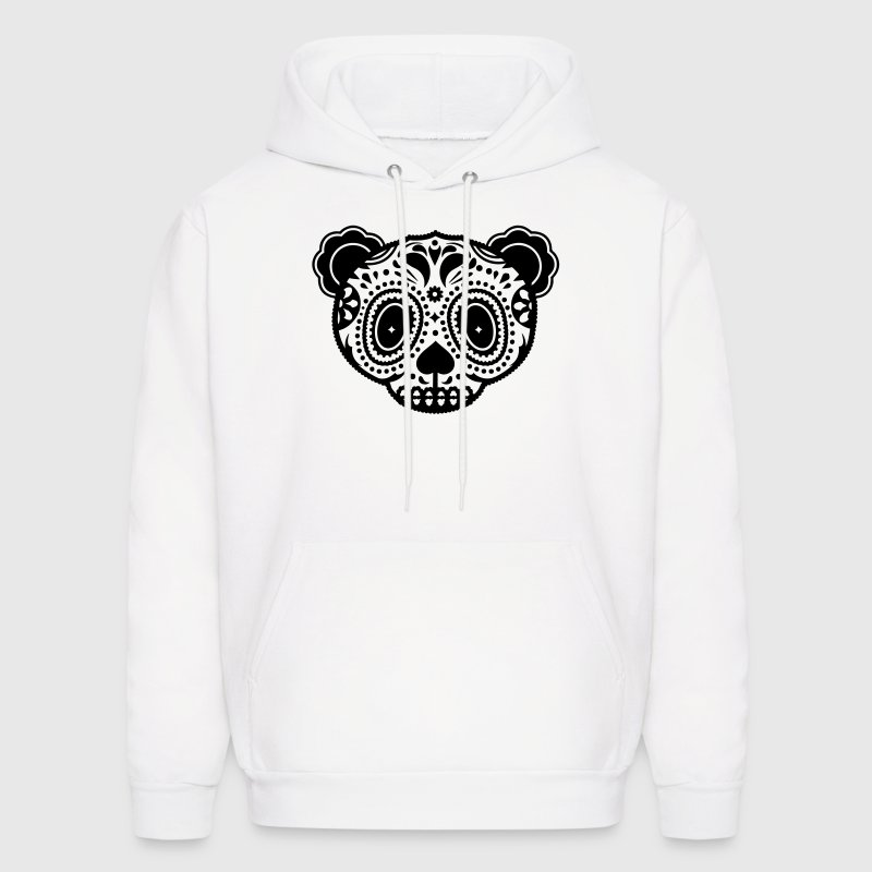 A panda bear head in the style of Sugar Skulls  - Men's Hoodie