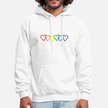 Pride Rainbow Heart Chains - Men's Hoodie