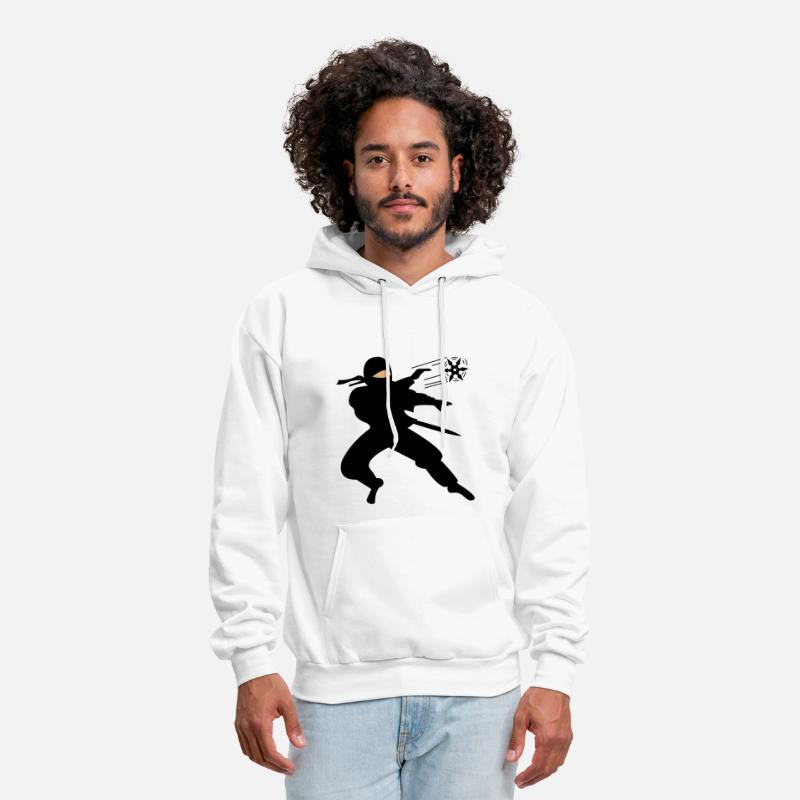 Ninja Hoodies & Sweatshirts - Ninja Shuriken Throw - Men's Hoodie white