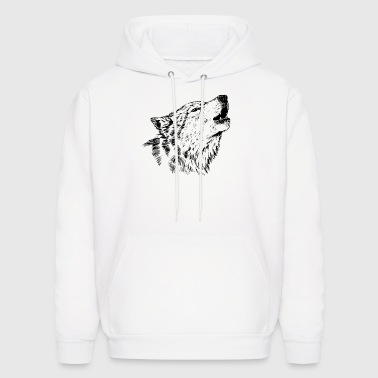 White Howling Wolf - Men's Hoodie