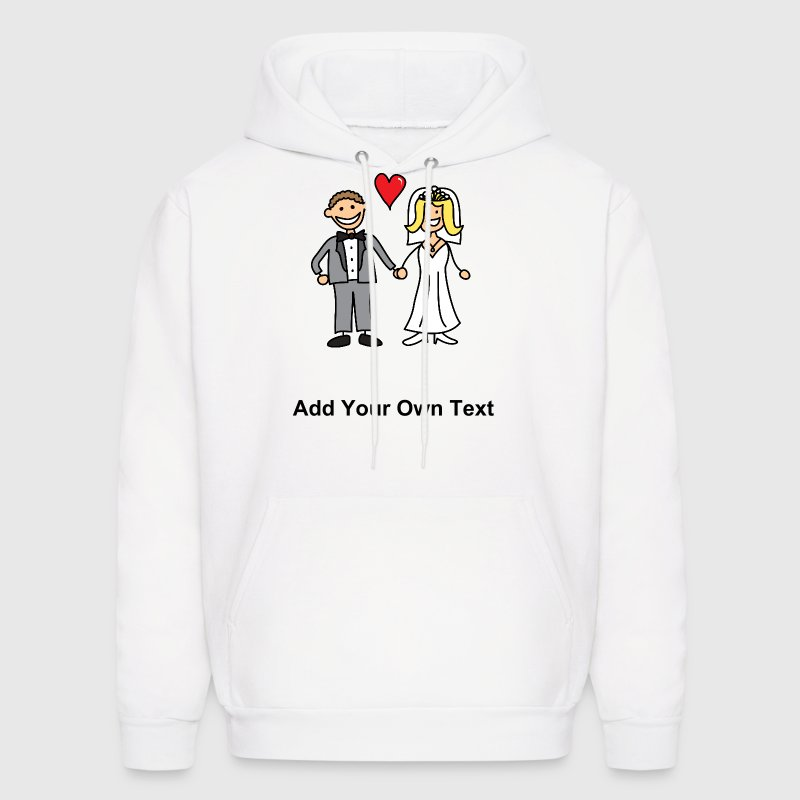 Bride and Groom Cartoon - Add Your Own Text - Men's Hoodie