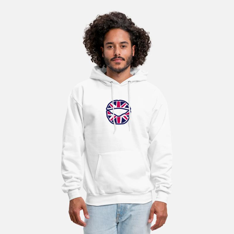 British Flag Hoodies & Sweatshirts - british union jack flag mouth lip - Men's Hoodie white