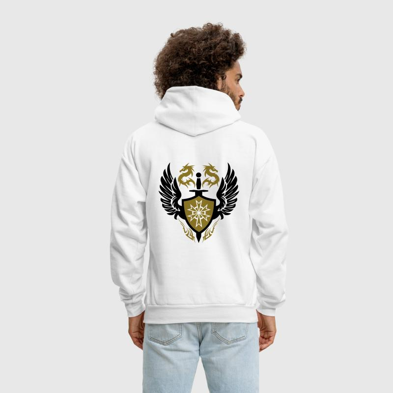 warrior shield and dragon crest - Men's Hoodie