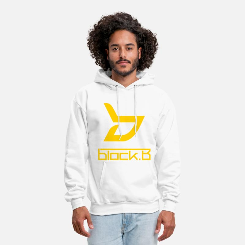 Kpop Hoodies & Sweatshirts - Block B Logo (with back) - Men's Hoodie white
