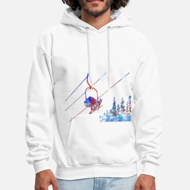 Ski Lift Couple ski lift, couple, ski sport, ski, skiing - Men's Hoodie