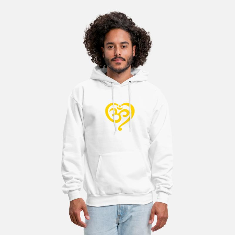 Om Symbol Buddhism Hoodies & Sweatshirts - Yoga Heart OM Symbol Love Spirituality Buddhism  - Men's Hoodie white