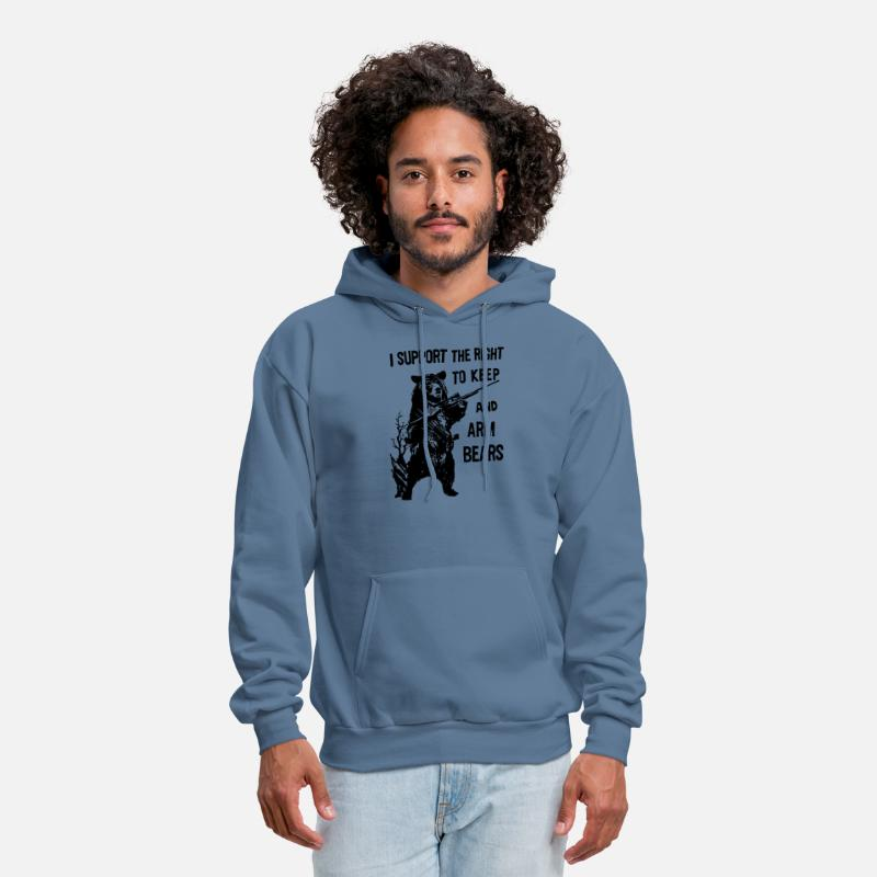 new arrival 4d509 78097 Arm Bears Funny Hunting Saying Military hunt Men's Hoodie - denim blue