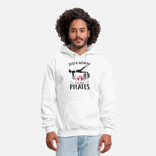 Love Hoodies & Sweatshirts - just a woman who loves pilates friend t shirts - Men's Hoodie white