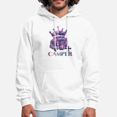 queen of the camper car fire watercolore crown cam - Men's Hoodie