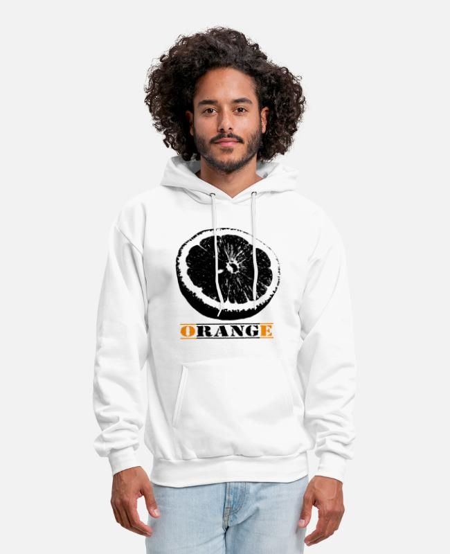 Drawing Hoodies & Sweatshirts - Orange - Men's Hoodie white