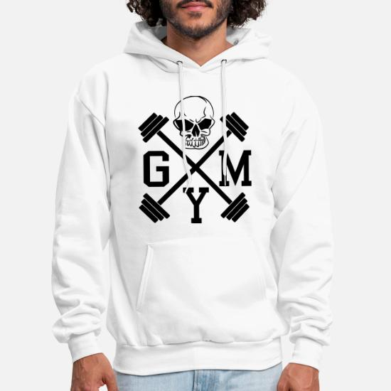 127b729438 Gym Skull Dumbbell Barbell Weight Athletics 1c Men's Hoodie ...