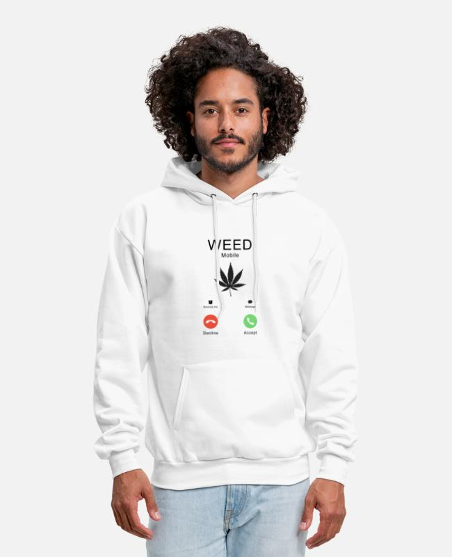 Weed Funny Hoodies & Sweatshirts - Weed is calling Smoker Weed T-shirt - Men's Hoodie white