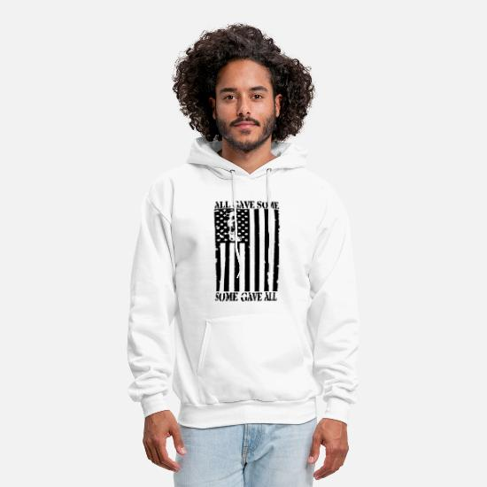 American Hoodies & Sweatshirts - American Flag All Gave Some Some Gave All Remember - Men's Hoodie white