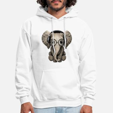 Wearing Cute Baby Elephant Dj Wearing Headphones and Glass - Men's Hoodie
