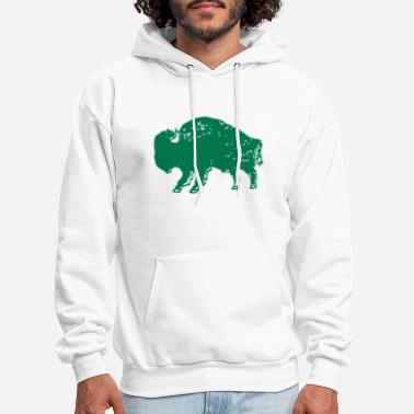Men s Unisex Bison Print Green and Gold Jersey Sho - Men's Hoodie