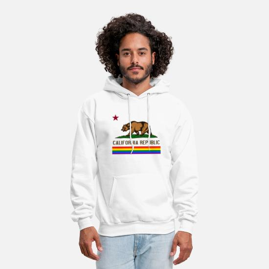 California Hoodies & Sweatshirts - California Republic LGBT - Men's Hoodie white