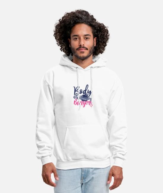 Bodyguard Hoodies & Sweatshirts - body built by burgers - Men's Hoodie white