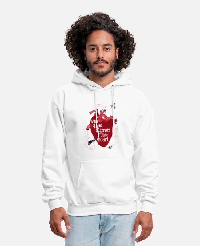 Detroit Hoodies & Sweatshirts - Detroit Love Heart Tattoo Shirt T-Shirt T-Shirts - Men's Hoodie white