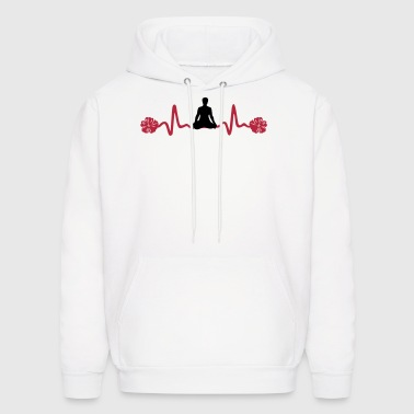 Yoga Heartbeat with Flowers - Men's Hoodie