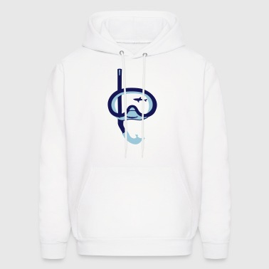 Snorkeling, diving, snorkeling mask and shark - Men's Hoodie