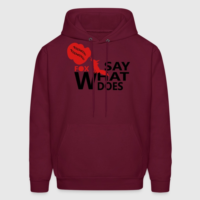 What does fox say text log with fox - Men's Hoodie