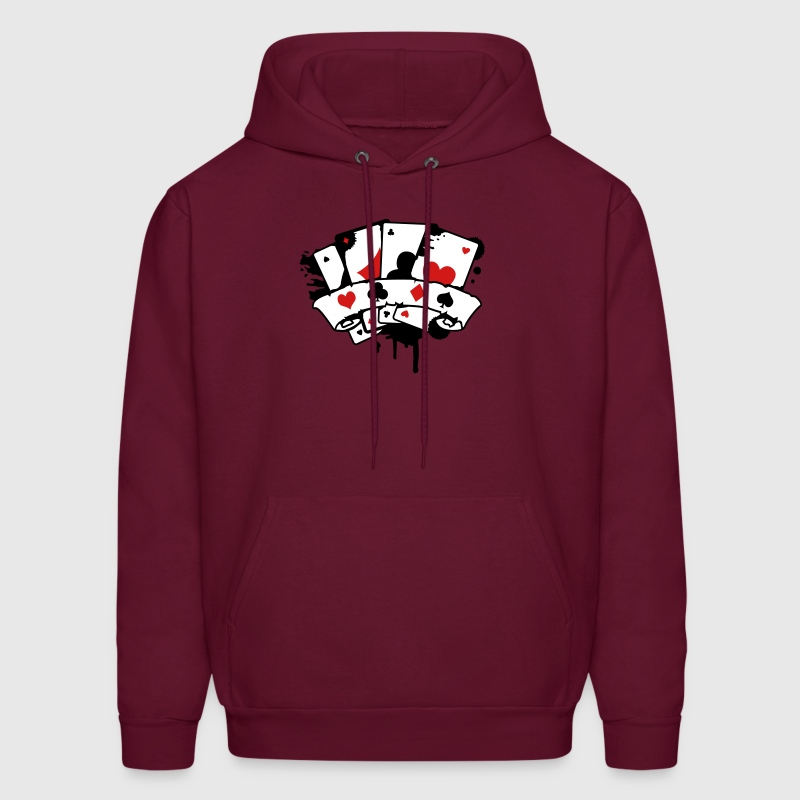 four playing cards and a banner - Men's Hoodie