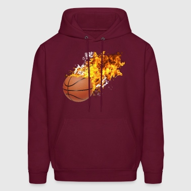 Flaming Basketball - Men's Hoodie