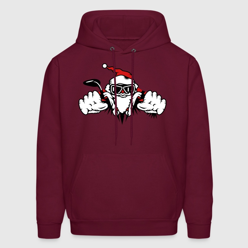 Santa Claus on Motorcycle - Men's Hoodie