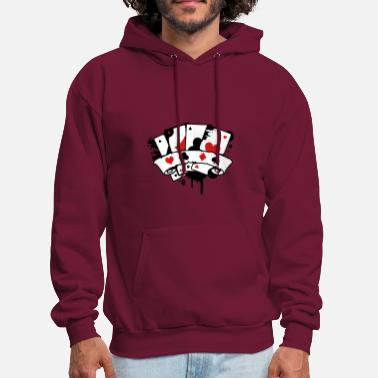 Card four playing cards and a banner - Men's Hoodie