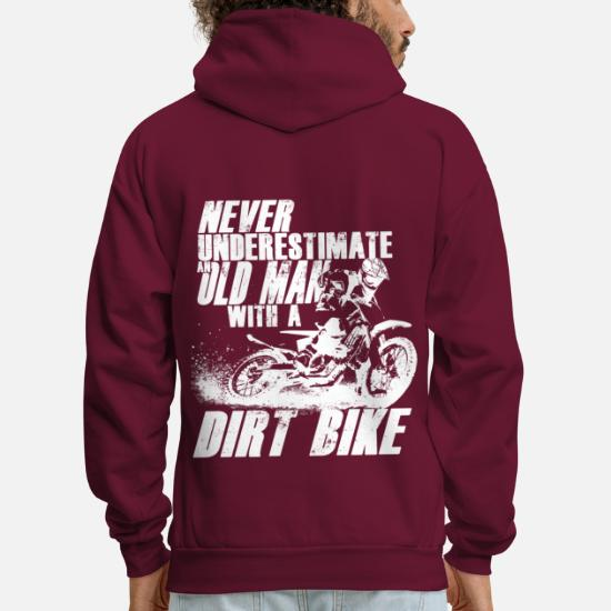 Never Underestimate An Old Man With A Motorbike Mens Funny Biker Hoodie