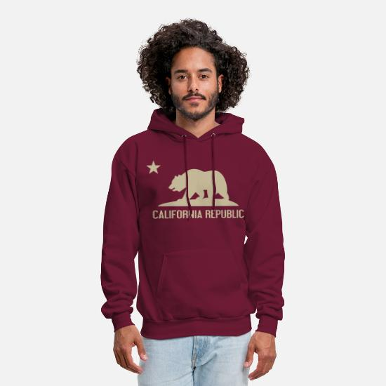 California Hoodies & Sweatshirts - California Republic - Men's Hoodie burgundy