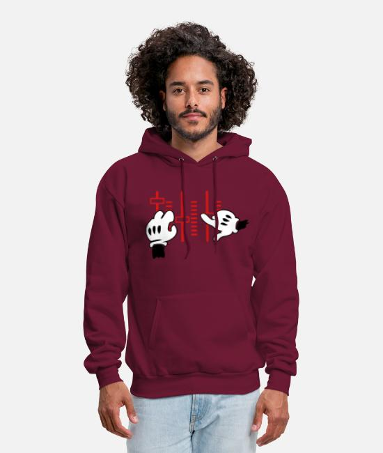 Mickey Hand Hoodies & Sweatshirts - dj mickey hands - Men's Hoodie burgundy