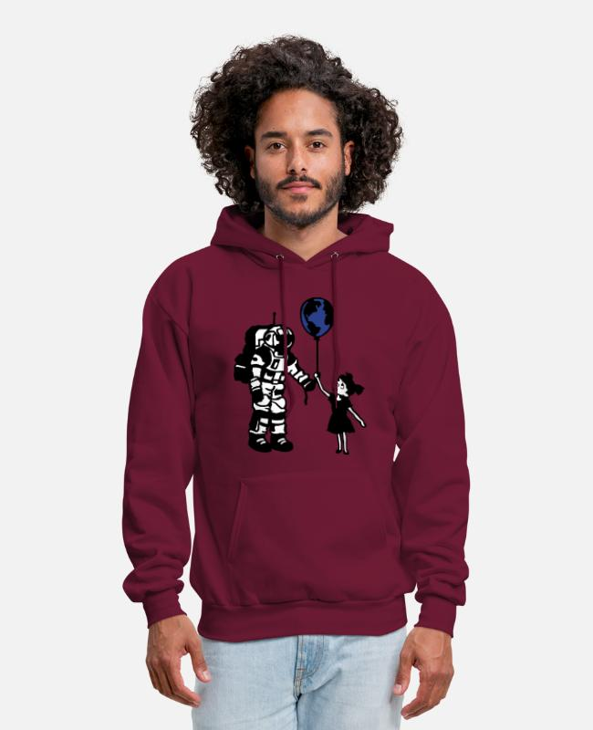 Space Hoodies & Sweatshirts - Astronaut Girl and the world - Men's Hoodie burgundy