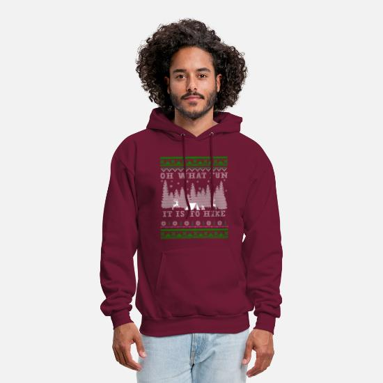 Ugly Christmas Hoodies & Sweatshirts - hiking fun Ugly Christmas - Men's Hoodie burgundy