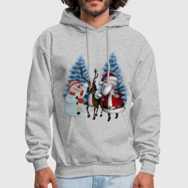 Funny Santa Claus with reindeer and snowman - Men's Hoodie