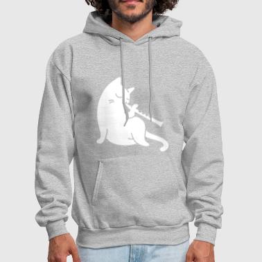 Flute - cat playing flute - Men's Hoodie