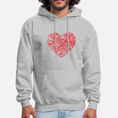 Heart Line Heart Of Lines | heart lines love red - Men's Hoodie