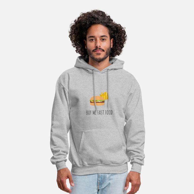 400ff1968 Buy Hoodies & Sweatshirts - BUY ME FAST FOOD - Men's Hoodie heather gray