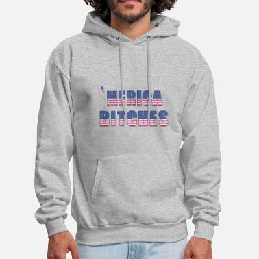 Merica Bitches American Flag Text - Men's Hoodie