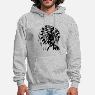 American Headdress Skull Native American Feathers Indian Tr - Men's Hoodie