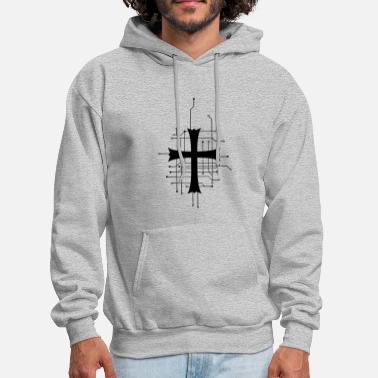 Art modern digital future circuit data church symbol c - Men's Hoodie